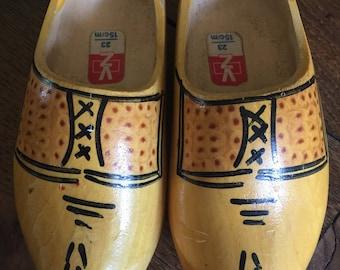 Vintage children's wooden dutch shoes toddler