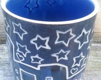 Porcelain City Under Stars Sgraffito Tumbler *Free Shipping*