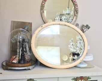 Reserved for Kristen Antique Beautiful Beveled Edge Wood  Mirror - Buffet Mirror - Shabby Chic Chippy Paint Cottage Chic