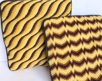 Bargello Needlepoint Throw Pillows in Yellow, Brown and Black with Velvet Back