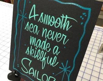 "Hand painted Garage art ""sailor"" posterboard sign, frameable"