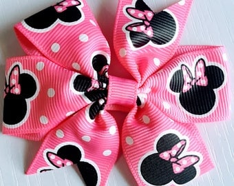 """Minnie Mouse Inspired ribbon Pink black hairbows polka dots Hair Bow clip Grossgrain  Boutique Handmade 3"""" 18m  24M 2T 3 t 4 t 5 6 7 8"""
