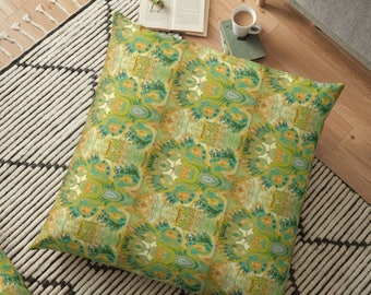 "Green Abstract Reat Pattern (70) Floor pillow cover 36"" square"