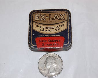 1930's vintage tin Ex-Lax The Chocolate Coated Laxative Sample Tin Salesman Sample Giveaway Great Lithographics on Tin