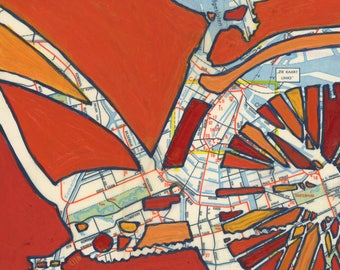 Amsterdam- small print - bicycle art featuring Amsterdam, Netherlands, Vondelpark, Oosterpark, Canal District, bicycle print, bike gift