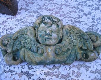 Antique Cement Cherub Angel Wall Hanging-Garden Patio