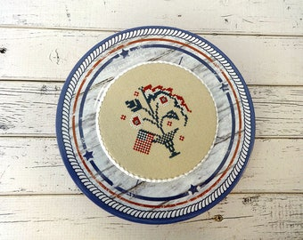 Americana Decor, Decorative Plate, Patriotic Decor, Finished Cross Stitch, Completed Cross Stitch, Cross Stitch Plate, Americana Plate