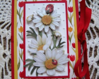 Gift Card Holder - Tulips and Daisies - Birthday Wishes - Thank You
