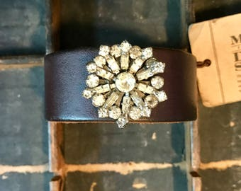 Dark Brown Leather Cuff Bracelet Adorned with Vintage Jewelry  S193 madeinthedeepsouth
