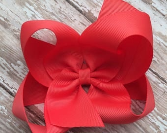 M2M made to match pearls & piggytails coral girls small single hair bow