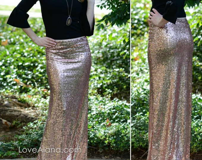 Free Shipping! Blush Rose Gold Maxi - Gorgeous high quality sequins- Long sequined skirt - S, M, L, XL (Handmade in LA!)