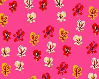 1 Yard SLEEPING PORCH Heather Ross Petite FLOWER Blossoms #42206-1 Hot Pink Cotton Lawn Windham Quilting Sewing Child Escargo Nature Fabric