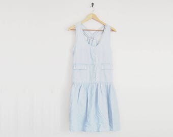 90s Dress. Sleeveless Chambray Dress. Criss Cross Back Dress. Light Denim Dress. Button Dress. Gathered Full Skirt. Summer Beach Hipster.