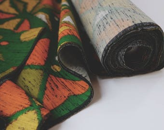 Vintage Mid Century Wool Kimono Fabric unused bolt by the yard Geometric Tribal Pattern green,orange,yellow and white 97% Wool OFF the bolt