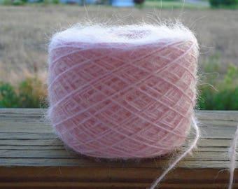 Brushed acrylic, mohair blend, Pink Champagne Yarn, Mill End Yarn, Knitting, Crocheting Batch 023