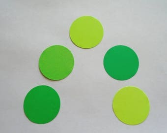 Die Cut Circles 2 inches 50 Pieces Feathered Greens Card Stock Confetti