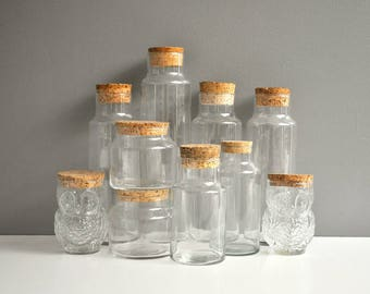 Collection of Vintage Glass and Cork Storage Containers