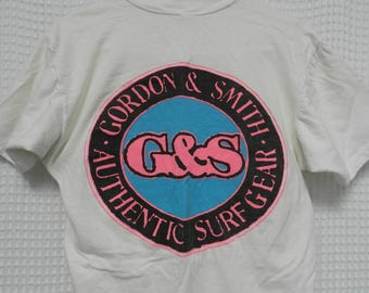 vintage Gordon & Smith T Shirt Surf Skate 80s NEON beach street wear rare M/L Authentic Surf Gear original eighties tee G and S