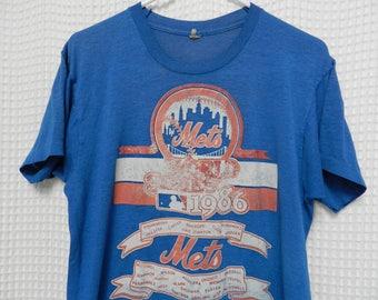 vintage 80s New York Mets T Shirt World Series Champions 1986 MLB baseball paper thin Screen Stars tee distress RARE M/L