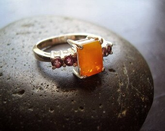 Tequila Sunrise - Genuine Fire Opal faceted Octagon & Fancy Sapphire Solid 925 Sterling Ring October Birthstone Anniversary Gift For Her