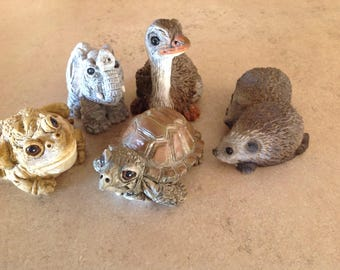 5 Stone Critters Littles: elephant, frog, ostrich, turtle, hedgehogs