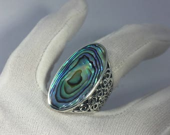 Antique Abalone  filigree sterling silver ring