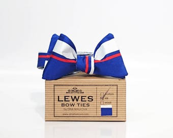 Men's self tie bow tie, royal blue white and a touch of red stripy self tie silk bow tie, blue silk striped bow tie, silk self tie bow tie