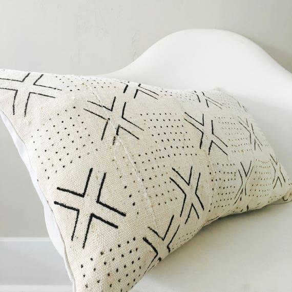 "Boho White Black Tribal Pillow Cover 14""x24"" Lumbar Cushion Pillow Ethnic Bohemian African Geometric Motif Mud Cloth Boho Pillow"