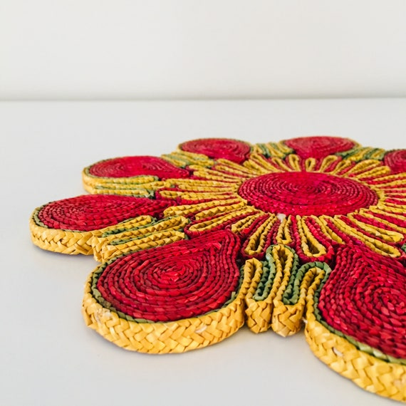 Vintage Pink Floral Trivet Colorful Woven Raffia Hot Pad Yellow Green Plant Coaster