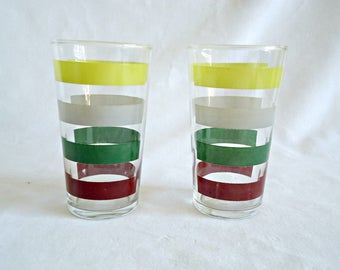 2 Striped Drinking Glasses Federal Vintage 1950's