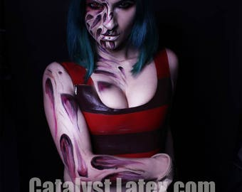 Latex Freddy Krueger inspired Cropped Vest and Thong Set