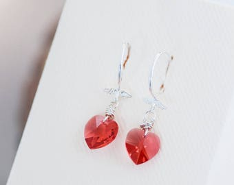 Cute Heart Earrings Light Red Swarovski Crystal Earrings Romantic Gift for Her Valentines Earrings Small Heart Earrings Birthday Gift Idea