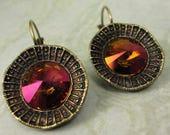 Vintage Swarovski Crystal Mahogany Earrings in Antique Gold Starburst Setting, Orange Earrings