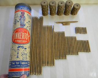 Vintage TINKERTOY BUILDING SET in Original Tube Mailer