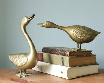 Vintage Pair of Mid Century Brass Ducks | Geese Bookends | Large Figurines