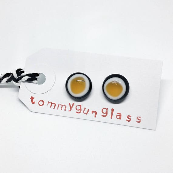 Yellow and Black Glass Stud Earrings