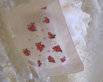 White Handkerchief Bonnet with Tiny Rosebuds