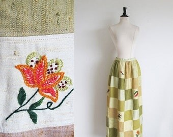 1/2 Off SALE Vintage 70s Maxi Patchwork Skirt, Hand Embroidered Skirt,  MOTHER'S Day Sale