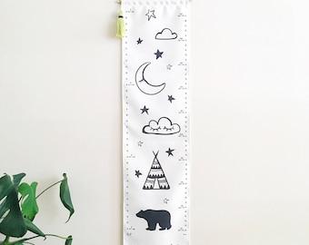 NEW! Growth chart - Kids wall hanging height chart - Adventure - Teepee Bear Sleepy Eyes Cloud Stars and Moon - Dream Big