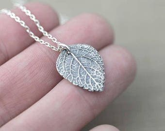 Silver Leaf Pendant Necklace | Rustic Sterling Silver Necklace Gift for Women | Handmade Original Alaska Jewelry by Burnish