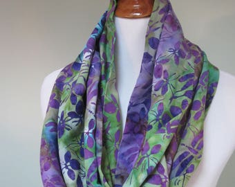 Dragonfly and Orchid Blossom Infinity Scarf