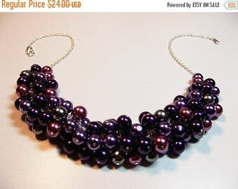 30% OFF SALE thru Mon Purple Dark Gray Pearl Cluster Necklace, Christmas Mothers Day Gift, Mom Sister Girlfriend Bridesmaid Wedding Jewelry