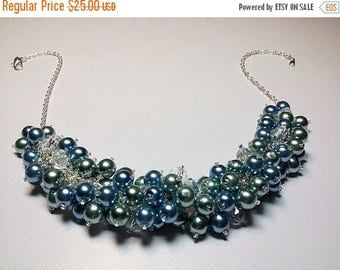 30% OFF SALE thru Mon Blue Teal Pearl Cluster Necklace, Valentines Mothers Day Gift, Mom Sister Grandmother Jewelry, Bridesmaid Girlfriend G