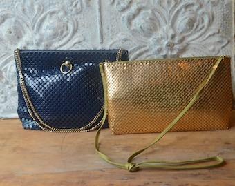 Collection Of Two Vintage Handbags, Gold Whiting And Davis Metal Mesh Handbag And Navy Blue Metal Mesh Handbag By Lyrella