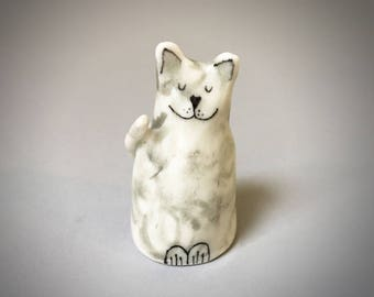 Ceramic miniature happy cat