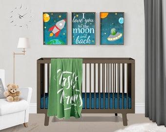Outer Space Love You to the Moon and Back Paper Print Wall Art Set