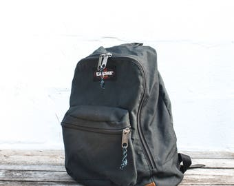 Vintage Eastpak Backpack Black with Leather made in the USA