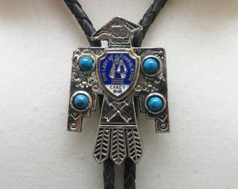 1970s Vintage Silver Thunderbird With Turquoise Bolo Tie,  Our Lady of Consolation, Carey, OH