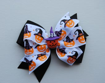 Halloween hair bow, jack o lantern hair bow, girls halloween bow, pumpkin halloween bow, witch hat hair bow, no slip hair bow, toddler bow