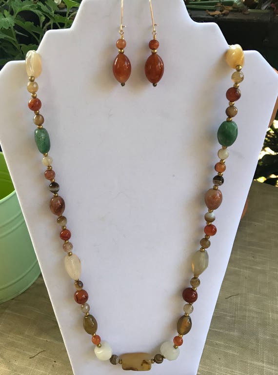 Vintage Mixed Agate Necklace Set